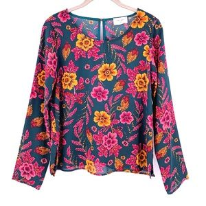 EVERLY Teal/Multi Floral Crepe Top Small